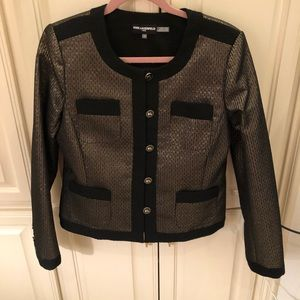 Karl Lagerfeld Gold and Black Blazer Jacket 12